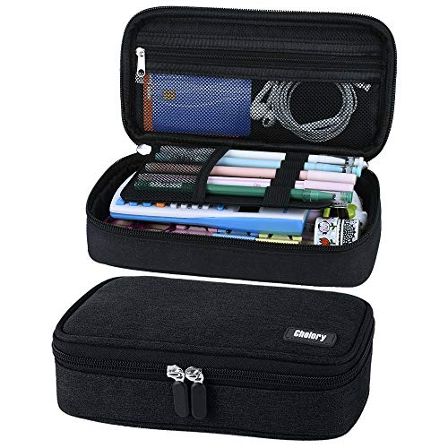 Big Capacity Pencil Case Pen Case Pencil Bag Pouch Pen Pencil Marker Holder Stationery Organizer Makeup Bag with Large Storage for Teen Boys Girls Students Middle High School Supplies & Office, Black