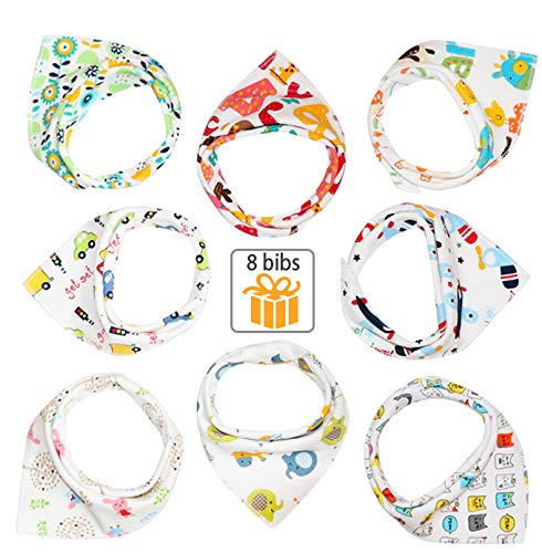 Nolwn Baby Bandana Drool Bib Set(8 pcs), Organic Cotton, Soft and Absorbent, Design for - Kidding Bib Infant