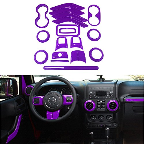 Cover Steering Wheel Set (Opall 18PCS Full Set Interior Decoration Trim Kit Steering Wheel & Center Console Air Outlet Trim, Door Handle Cover Inner, Passenger Seat Handle Trim For Jeep Wrangler 2011-2017 4 Door (Purple))