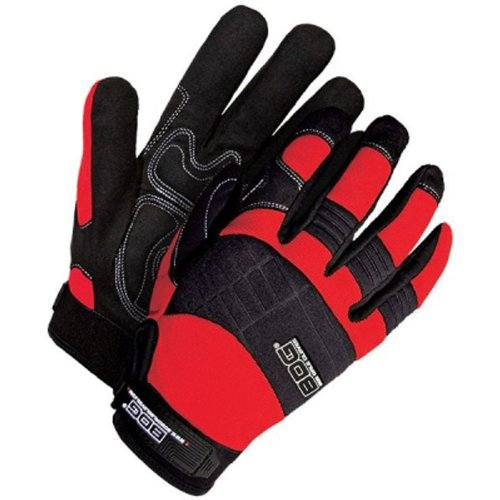 Bob Dale 20-1-10605R-L Mechanics Glove with Synthetic Leather Anti-Vibe Gel Palm, Large, Red