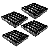 InterDesign Linus Kitchen Drawer Organizer for Silverware, Spatulas, Gadgets - Pack of 4, Black