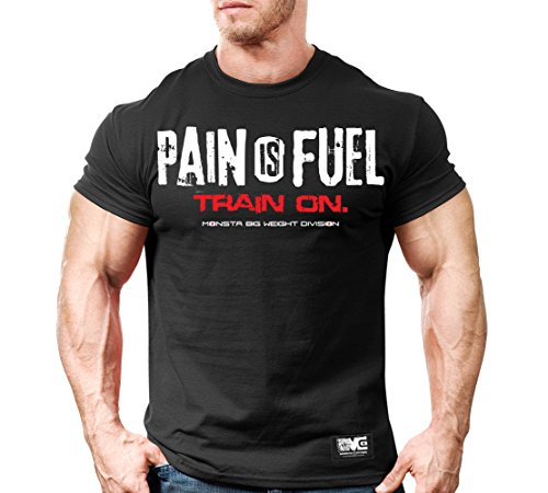 Monsta Clothing Co. Men's Pain is Fuel: Train On. T-shirt Large Black