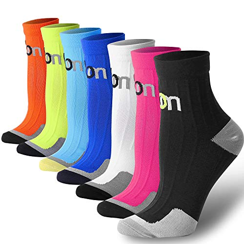 Compression Socks for Women and Men Sport Plantar Fasciitis Arch Support Low Cut Running Gym Compression Foot Socks/Foot Sleeves Best for Sports (7 Pairs 1,Small/Medium)