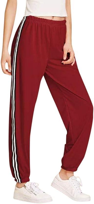 Sylar Pantalones Mujer Chandal, Retro Color Sólido Rayas Suelto ...