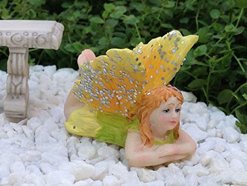 Miniature Dollhouse FAIRY GARDEN Accessories Daydream Girl YELLOW Glitter Wings