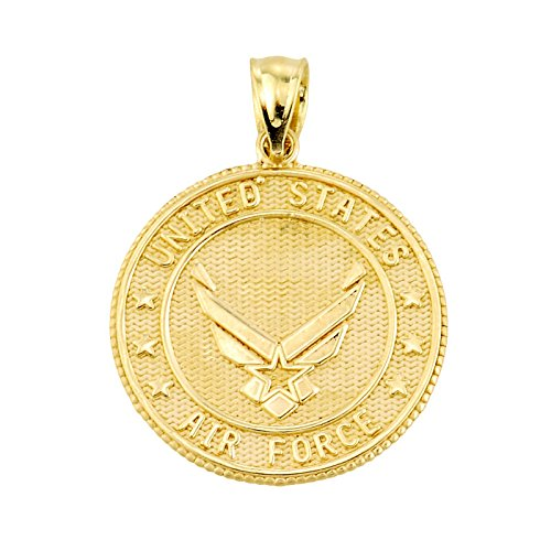 """Petits Merveilles D'amour - 10 ct Or 471/1000 """"US Air Force"""" Pièce de Monnaie Collier Pendentif (Livré avec un 45 cm Chaîne)"""