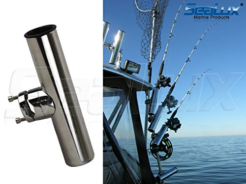 (SeaLux Stainless Steel Clamp On Rail Mount Fishing Rod Holder 7/8