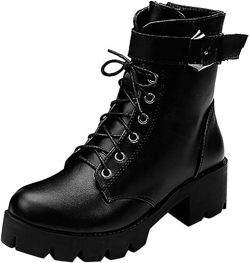 Botas Militares para Mujer con Plataforma - Ocio Botines Tacon ...