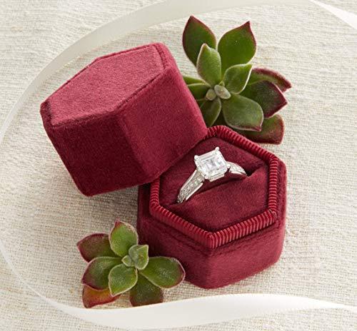 Red Velvet Ring (Velvet Ring Box Merlot Dark Red, Hexagon Shape, Engagement Ring Box, Ring Bearer Box, Wedding Ring Box, Wedding Photo Shoot, Engagement Photo Shoot, Bridal Gift)