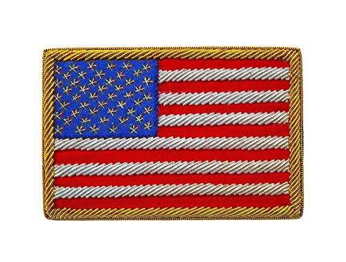 HAIXUN Handmade American Flag Patch with Metallic Thread Embroidery by HAIXUN