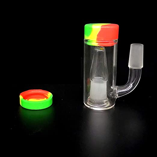 45 Degree Glass Collector and Silicone Container HFGH 14mm Glass 14mm Male Reusable