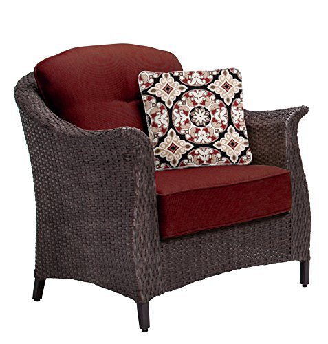 """Hanover GRAMERCY4PC-RED Furniture Gramercy 4-Piece, Crimson Red Outdoor Wicker Patio Seating Set - SET INCLUDES: One deep-cushioned sofa, two matching arm chairs, a coffee table and four decorative accent pillows HEAVY DUTY STEEL FRAME: Powder coated steel to resist rust GENEROUS CUSHION SIZE: 5"""" UV protected cushions offer maximum comfort while fashionable toss pillows are included to complete the style and enjoyment. - patio-furniture, patio, conversation-sets - 51RIo9nKbrL -"""