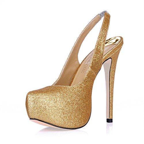 CHMILE CHAU Damenschuhe-Pumps Stiletto-Dünne Fersen-Hoher Absatzschuhe-Sexy-Modisch-Abiball-Brautschuhe-Slingback-Plateau 3cm Gold