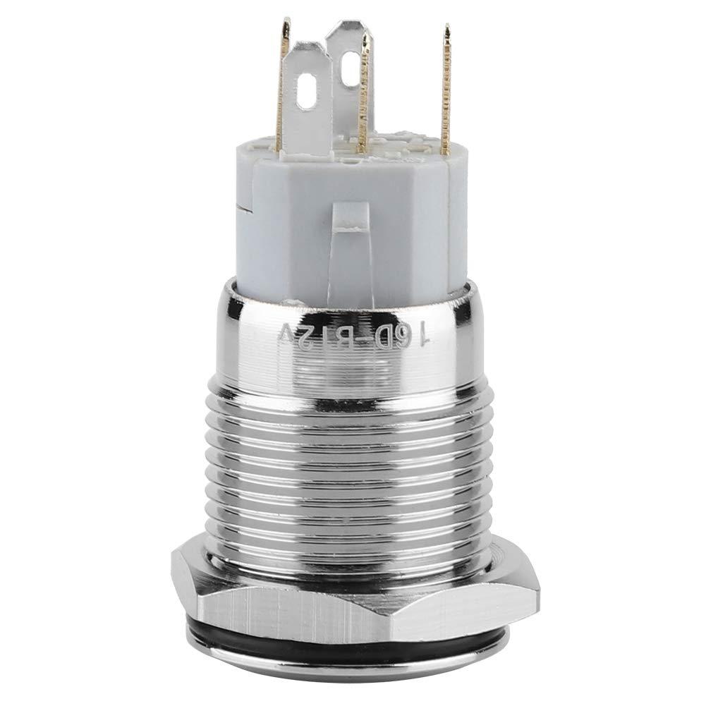BLAU NC C Auto Reset 5-Pin Flachkopf-Druckschalter mit LED-Licht f/ür Starter Sch/ütz Relais 40pcs 12V 16mm stabiles Metall NO Momentary Pushbutton Switch