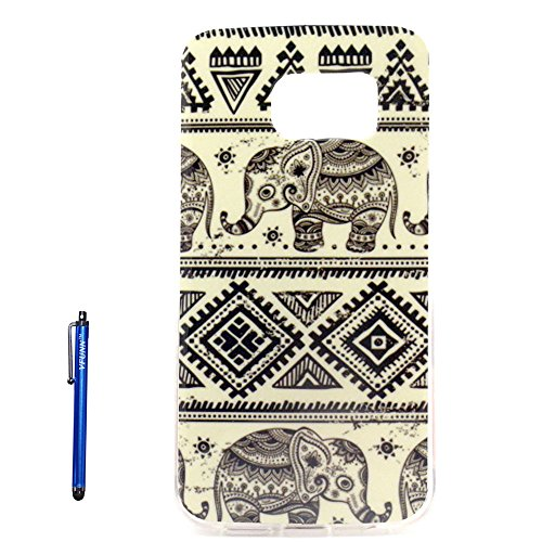 S6 Edge Case,Galaxy S6 Edge Case,Vfunn Premium TPU Gel Scratch Resistant Funny Cartoon Case Cover for Samsung Galaxy S6 Edge only with 1 Screen Protector 1 Stylus Pen (S6 Edge TPU Case) (Elephant)