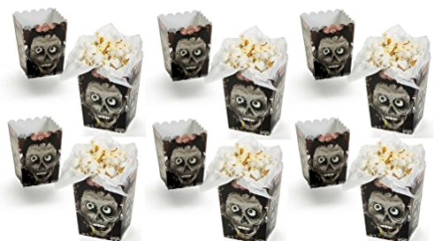 Mini Zombie Head Popcorn Boxes (Pack of 12) Perfect for Halloween Party Popcorn Serving, Decoration, Party Favor Goody Boxes