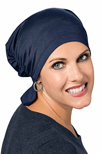 Tied Fashion Scarf (Cardani Bamboo Scarf Beanie Pre Tied Chemo Beanie Scarf Luxury Bamboo - Midnight Blue)
