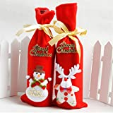 GUAngqi Christmas Santa Claus Bear Snowman Reindeer Wine Bottle Decoration for Xmas Gift Dinner Party Table Decor