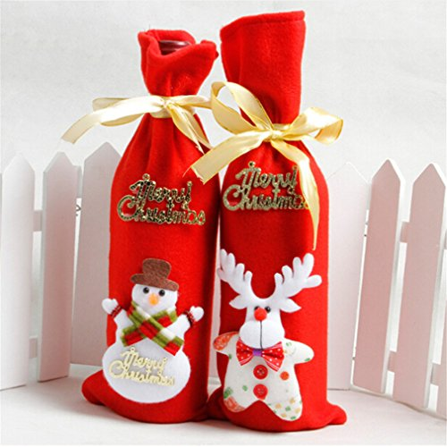 GUAngqi Christmas Santa Claus Bear Snowman Reindeer Wine Bottle Decoration for Xmas Gift Dinner Party Table Decor by GUAngqi (Image #5)