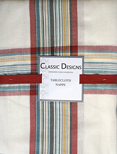 Fabric Tablecloth, 52 by 70 Inches, Colorful Plaid Stripes Pattern, Classic Designs, Blue Green Yellow Red on White
