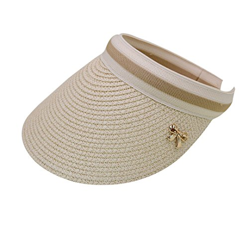 (Rebecca Women's Wide Brim Straw Visor Hat Sports Beach Clip-on Straw Hat Travel Sun Cap (Beige))