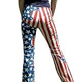 July 4th Patriotic American Flag Women Drawstring Pants Wide Leg Leggings Yoga Sports Casual (M, Multicolor)