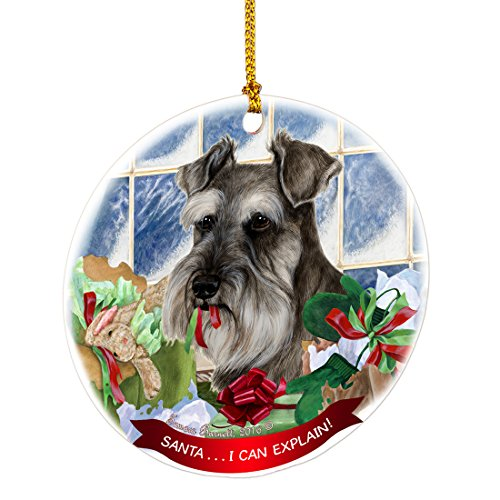(Schnauzer Grey Santa I Can Explain Happy Howliday Round White Porcelain Hanging Ornament)