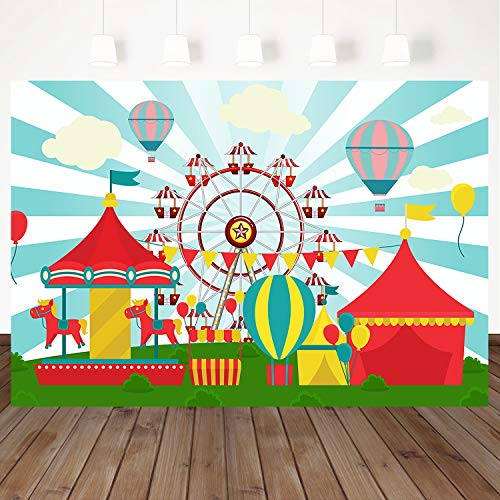 Mehofoto Circus Carnival Party Backdrops 7X5ft Carousel Ferris Wheel Playground Vinyl Background Baby Kids Birthday Party Decor Banner Customized Photo Booth Backdrop ()