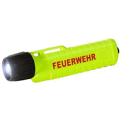 UK Lights 14321F Lampe torche ET xenon à 4 piles AA pour casque, avec interrupteur à l'arrière et impression en allemand Feuerwehr (pompier) Jaune fluo