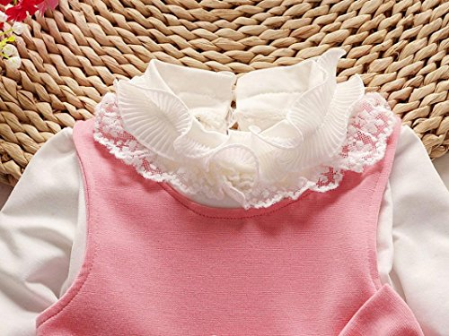 Amlaiworld baby Mädchen weich Punkte drucken kleider+ langarmshirt,bunt Flickwerk bowknot Kleinkind winter kleidung,0-24Monate Rosa