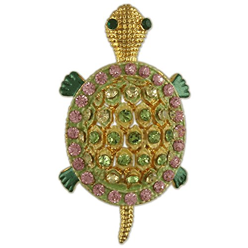 (CRYSTAL SEA TURTLE BROOCH PIN MADE WITH SWAROVSKI ELEMENTS GREEN PINK)