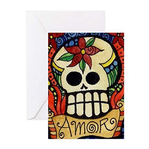 CafePress Amor Day Of The Dead Skull Greeting Cards Greeting Card, Note Card, Birthday Card, Blank Inside Glossy]()