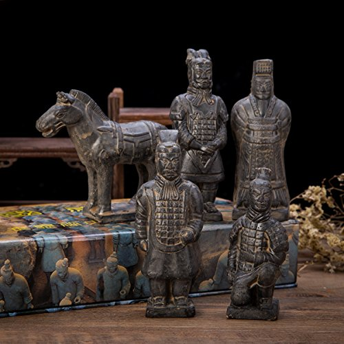 set-of-5-antique-reproduction-qin-dynasty-terra-cotta-warrior-collectible-statuette-miniature-black