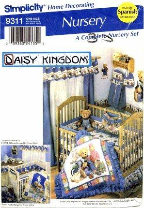 Simplicity 9311 Sewing Pattern Daisy Kingdom Nursery Quilt Sheet Diaper Stacker Bag