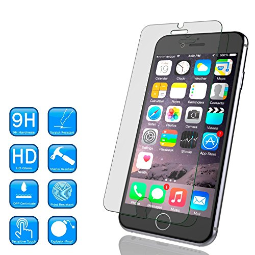 iPhone 6 (4.7 Only) Tempered Glass Screen Protector, Ebestsale(TM) Premium 2.5D Round Edge 9H Hardness 0.3mm Thickness HD Clear Ballistic Film