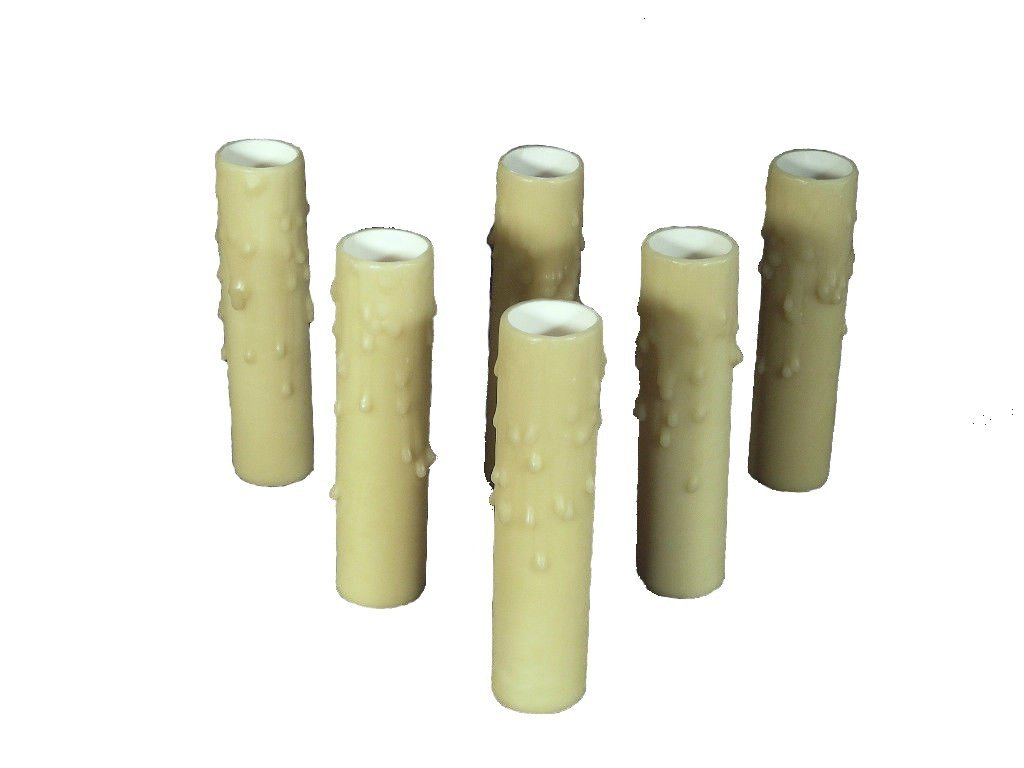 Set of 6 pc. 3'' Tall Ecru Candelabra Base 3/4'' Inner Diameter Thin Base Beeswax Candle Covers, Socket Sleeves by Lighthouse Industries