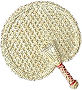 Bticx 100% Natural Bamboo Hand Fan, Hand Woven Old-Fashioned Household Plantain Fan Natural Raffia Fan for Home Decor, Summer Beach Party - Hand Fans Bulk Wedding Favors for Guests