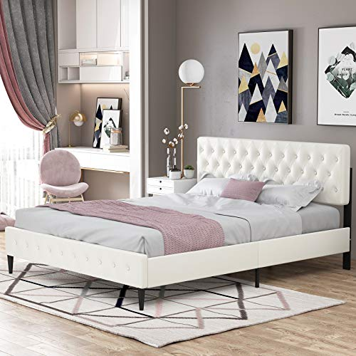 mecor White Full Size Upholstered Faux Leather Platform Bed Frame – Adjustable Button Tufted Headboard – Wooden Slat…