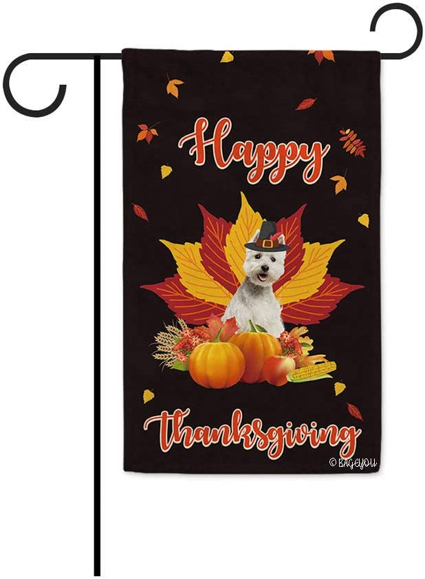 Happy Thanksgiving Day with My Lover Dog West Highland White Terrier Westie Garden Flag Harvest Season Pumpkin Maple Leaf Fall Decor Home Banner for Outside 12.5x18 Inch Print Both Sides Black