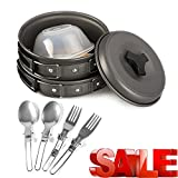 Portable Camping Cookware Mess Kit 12 Piece Backpacking...