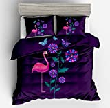 Gorgeous Purple Flamingo Butterflys Cotton Microfiber 3pc 90''x90'' Bedding Quilt Duvet Cover Sets 2 Pillow Cases Queen Size