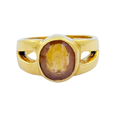 6af3000c7 Amazon.com: Skyjewels Certified 5.05 Cts Oval Shape Yellow Sapphire  (Pukhraj) Panchdhatu Ring: Jewelry
