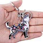 Marte&Joven Siberian Husky Keychain for Women Dog Lover Unique Enamel Dog Jewelry Gift 7