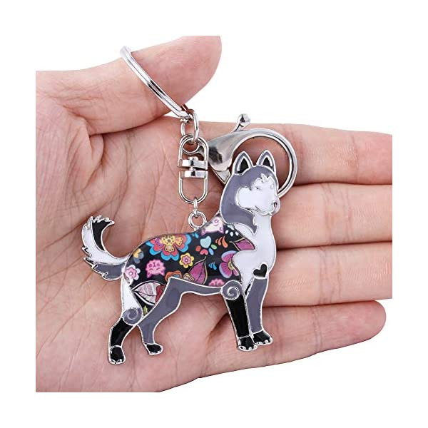 Marte&Joven Siberian Husky Keychain for Women Dog Lover Unique Enamel Dog Jewelry Gift 3
