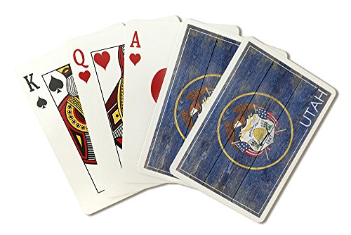 Rustic Utah State Flag (Playing Card Deck - 52 Card Poker Size with Jokers) by Lantern Press