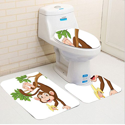 Keshia Dwete three-piece toilet seat pad customCartoon Funny Monkey From Tree And Holding Banana Jungle Animals Theme Mascot Print Chocolate White