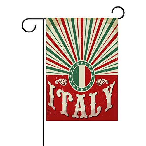 ALAZA Vintage Old Italian Flag Polyester Garden Flag House Banner 12 x 18 inch, Two Sided Welcome Yard Decoration Flag for Wedding Party Home Decor]()