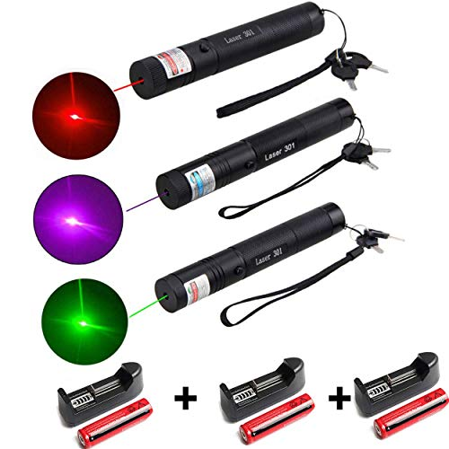 Best Quality - Lasers - 1Pcs 5mW Green Red Purple Laser Pen Powerful Laser Pointer Presenter Remote Lazer Hunting Laser Bore Sighter - by Tini - 1 PCs (Red Green And Blue Laser Pointer)