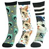Gift Novelty Dress Socks,J'colour Mens Womens Soft Seamless Colorful Over the Calf Fun Animal Casual Socks 3 Pairs