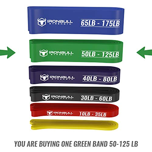 Pull Up Assist Band, Premium Stretch Resistance Bands - Mobility Bands - Powerlifting Bands - Extra Durable and Heavy Duty Pull-Up Bands - Works with Any Pullup Station (#4 Green - 50 to 125 lb) by Iron Bull Strength (Image #2)